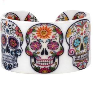 Jewelry - White Floral Skeleton Skull Cuff Bracelet